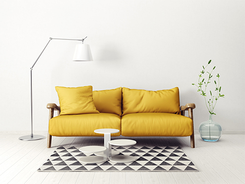 modern scandinavian  interior. sofa in living room. 3d render. 3d illustration