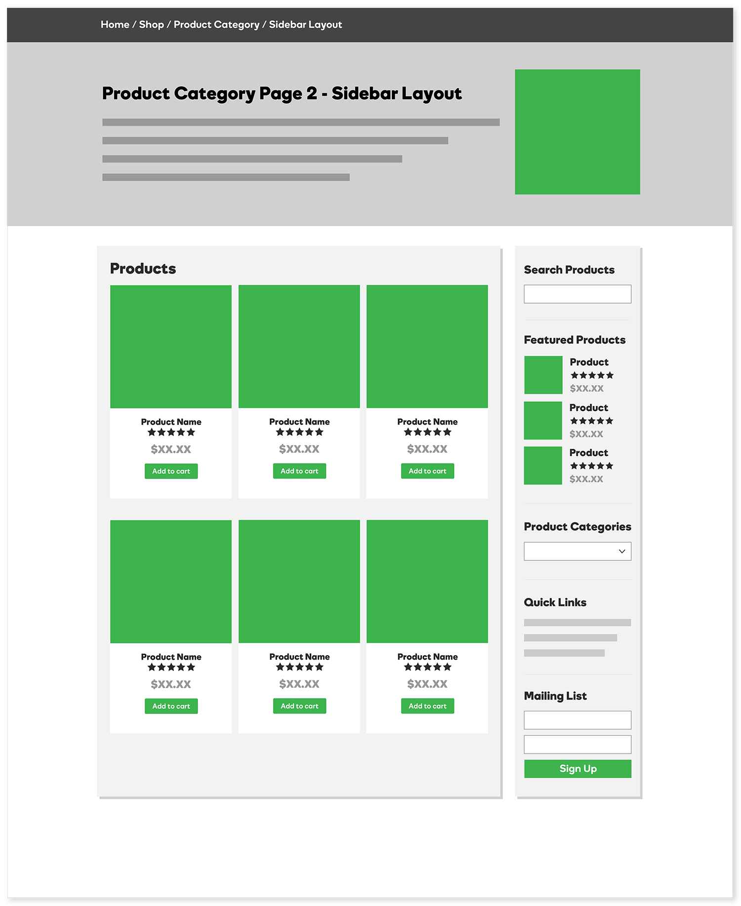 Product Category Page - Sidebar