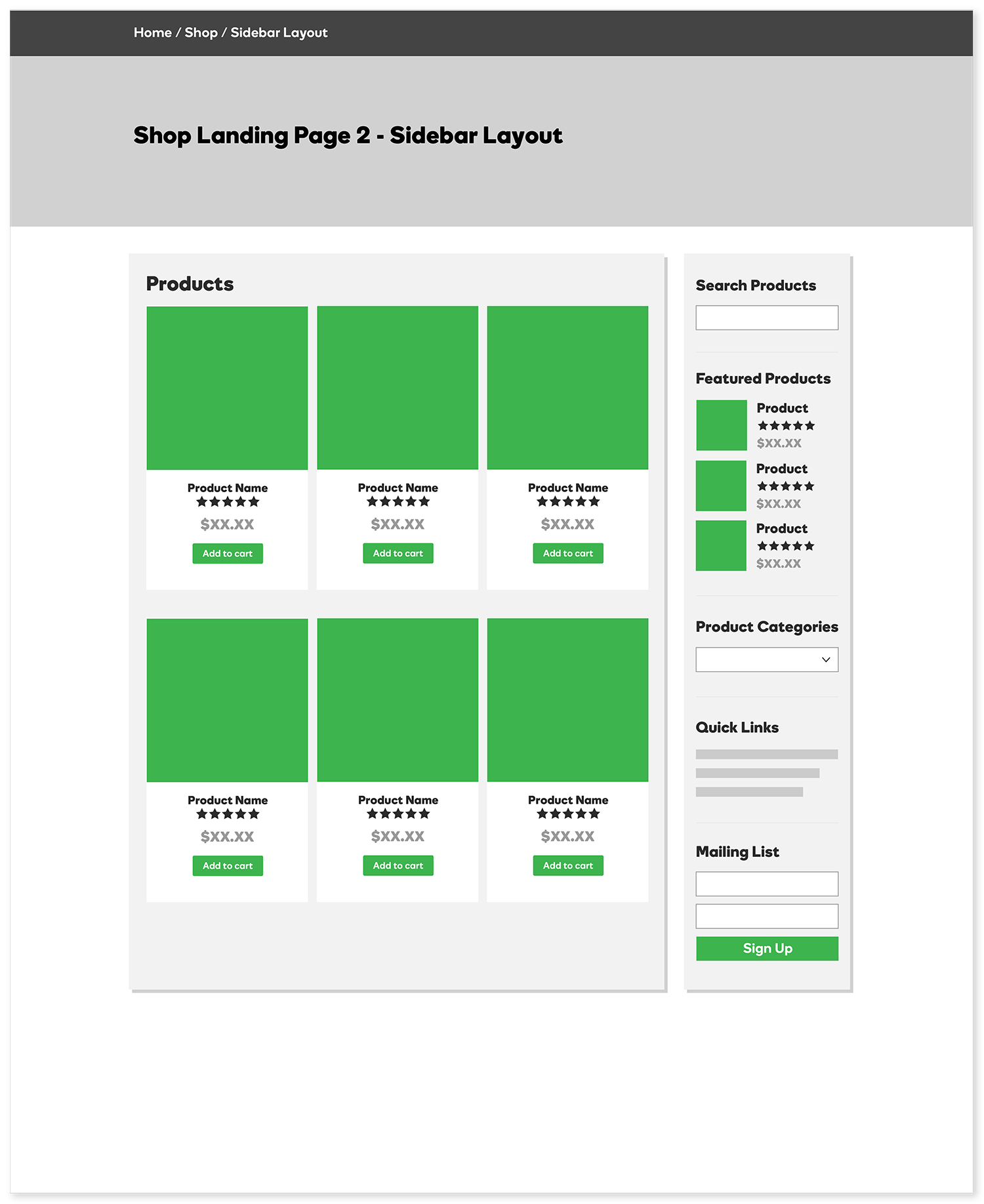 Shop Landing Page - Sidebar