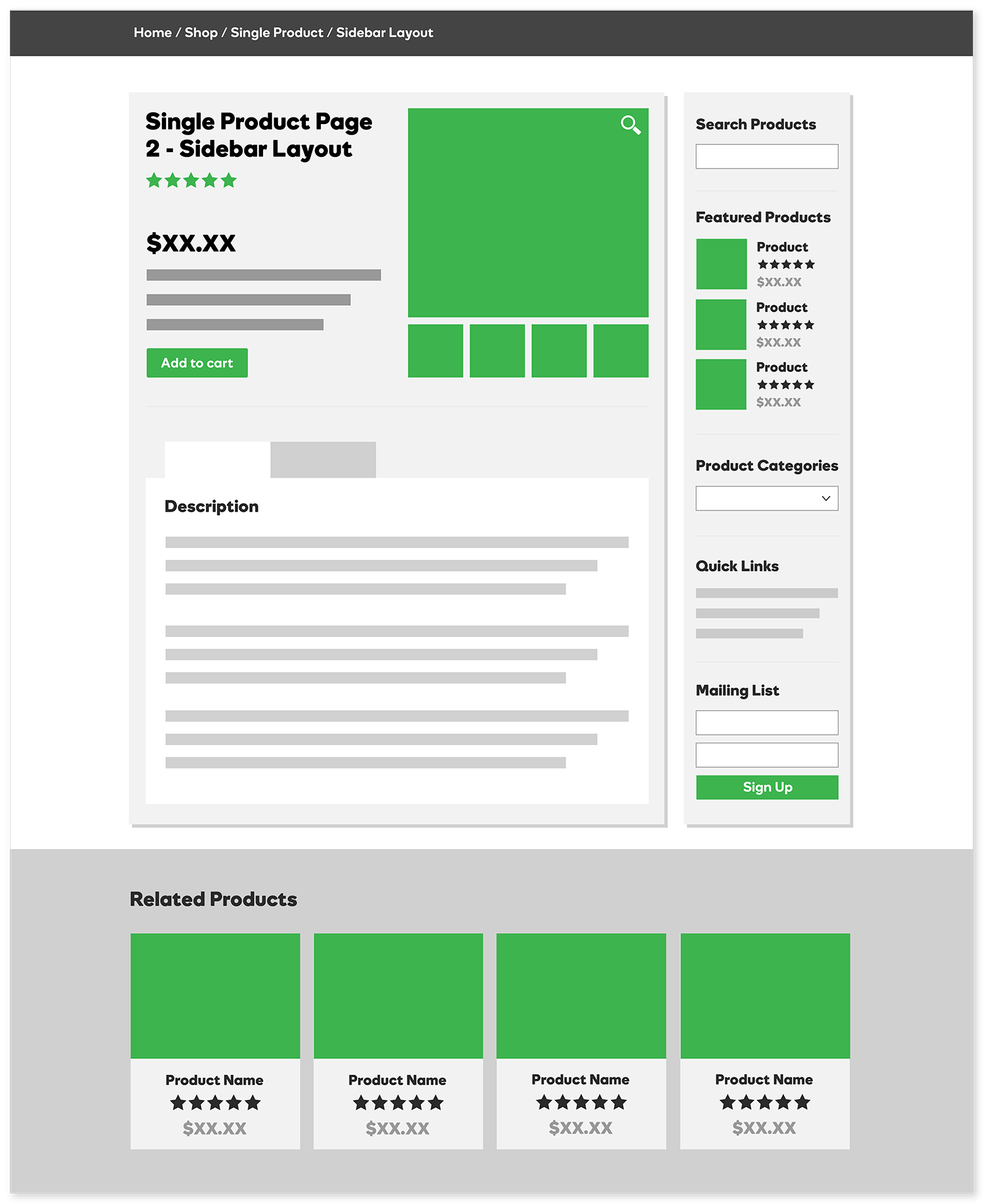 Single Product Page - Sidebar