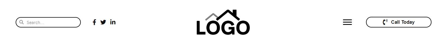 Header Middle – logo, hamburger, cta, search, icons