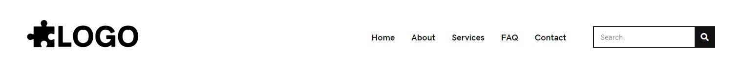 Header Simple – logo, menu, search