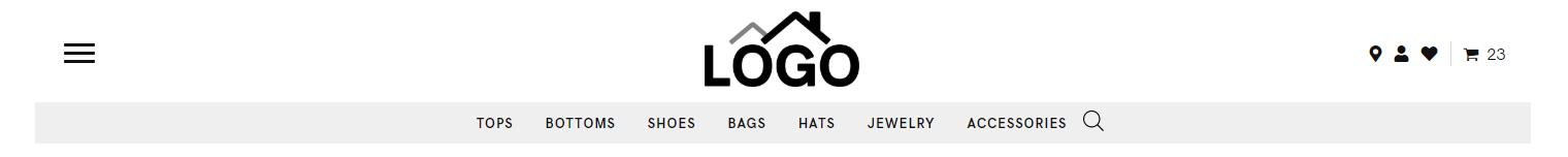 Header Store – logo, hamburger, search, cart, icons, cat nav